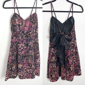 Vintage Roberta Purple Velvet Bow Back Dress 9/10